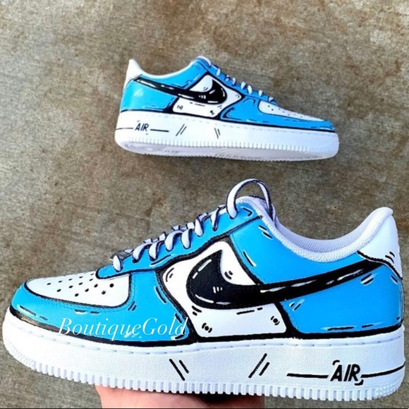 Nike Shoes | Nike Air Force Cartoon Pop Art Sketch Customs | Poshmark